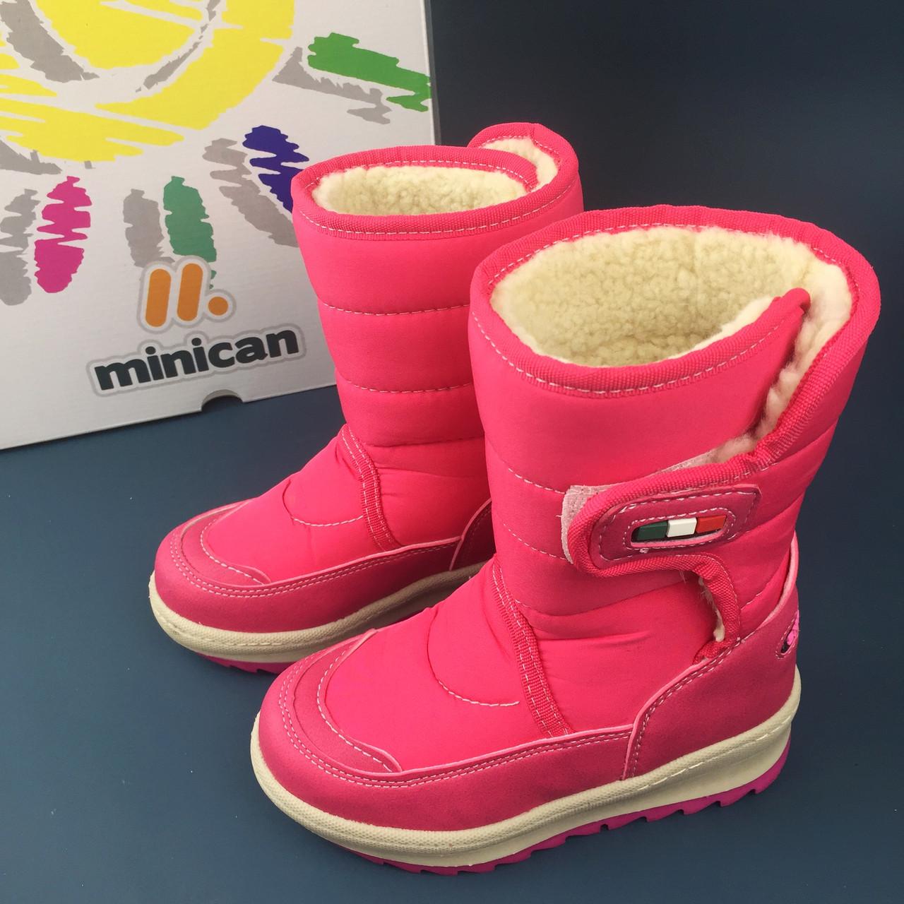 MINICAN обувь зимняя розовые сапожки сапоги детские дутыши аляска для девочек
