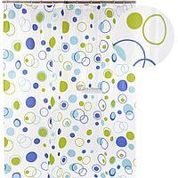 Штора для ванной 002E-44 (круги зеленые) 1,8*1,8 (Аквалиния, Россия)