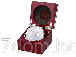 Часы настольные Род-Айленд, красное дерево/серебристый