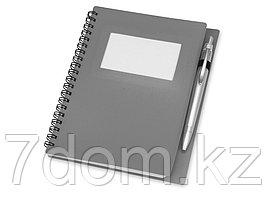 Блокнот Контакт с ручкой, серый