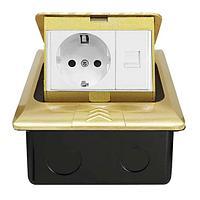 Shelbi Напольный/настольный лючок на 3 модуля, металл, золото