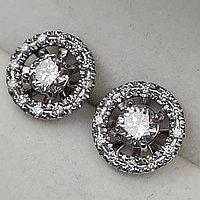 Сертификат IGI 1.40Ct VS2-SI2/L, Good-Cut Золотые серьги пуссеты с бриллиантами, фото 1