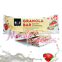 "SOJ Батончик злаковый ""GRANOLA BAR"" йогурт и клубника 40 гр./ Упаковка 20 шт., фото 1"