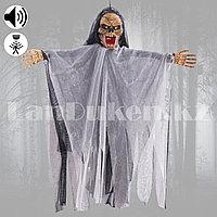 Декорация Скелет музыкальный для Хэллоуина с реакцией на касания (бело-черный) маленький