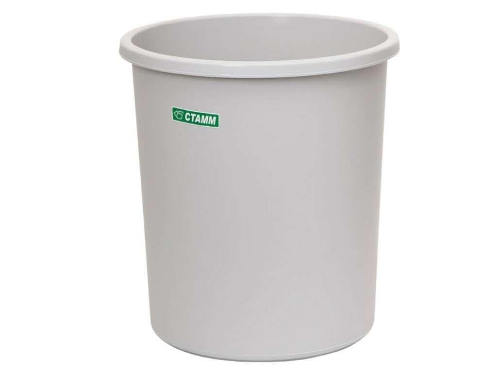 Корзина для мусора СТАММ 18 литров, цельная, серая