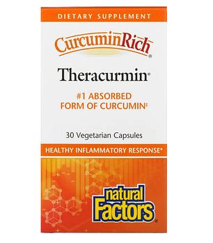 Natural Factors, CurcuminRich, Theracurmin, куркумин, 30 вегетарианских капсул