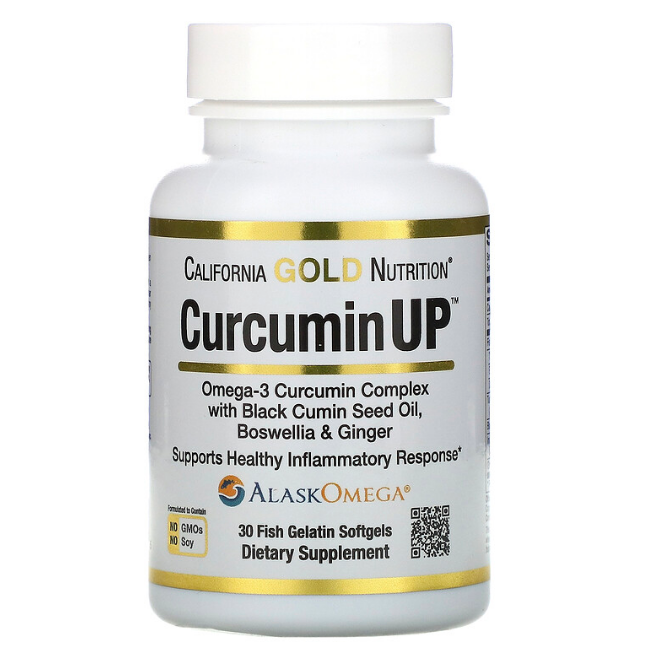 California Gold Nutrition, CurcuminUP, комплекс куркумина и омега-3, поддержка при воспалениях, 30 рыбно-желат