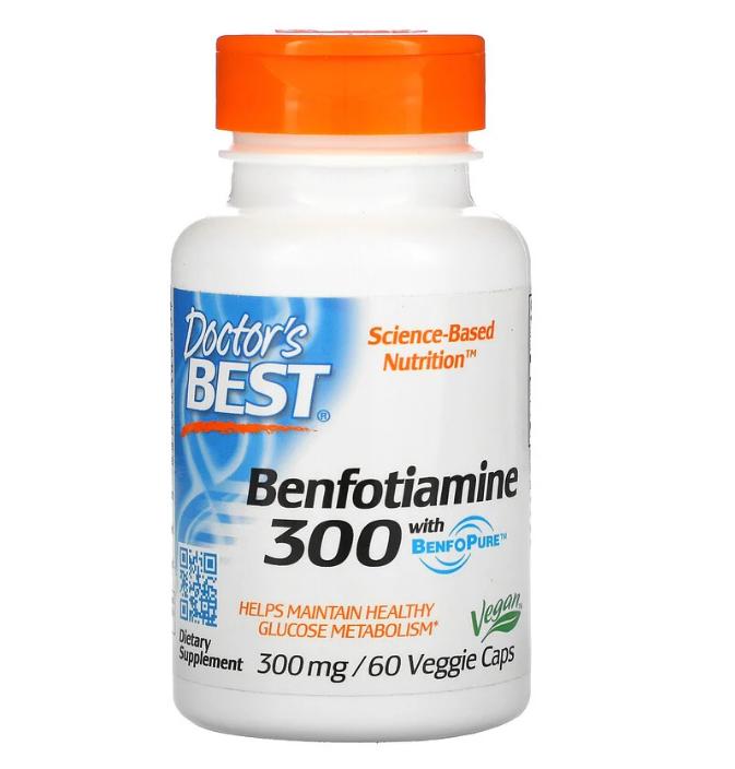 Doctor's Best, бенфотиамин с BenfoPure, 300 мг, 60 вегетарианских капсул