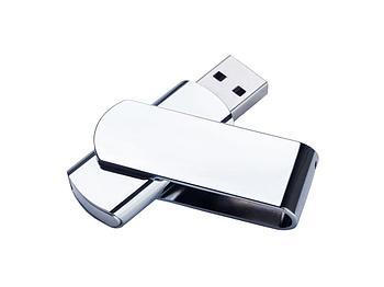 USB-флешка металлическая поворотная на 16 ГБ, глянец