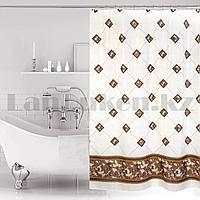 Водонепроницаемая тканевая шторка для ванной Miranda для душа 180х200 см с ромбиками белая
