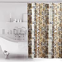 Водонепроницаемая тканевая шторка для ванной Miranda для душа 180х200 см с квадратиками в коричневых оттенках