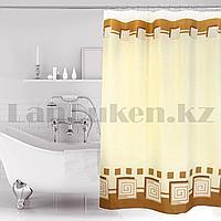 Водонепроницаемая тканевая шторка для ванной Miranda для душа 180х200 см с узором в бежевых оттенках