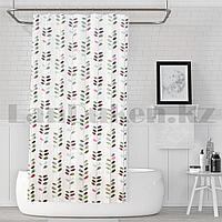 Водонепроницаемая тканевая шторка для ванной Jackline для душа 180х200 см с растительным узором белая