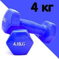 Гантели с виниловым покрытием для фитнеса 4 кг в ассортименте