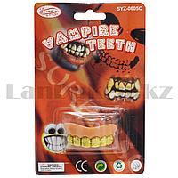 Зубы накладные вампирские на Хэллоуин без клыков  Vampire teeth SYZ-0605С с узорами золотистые