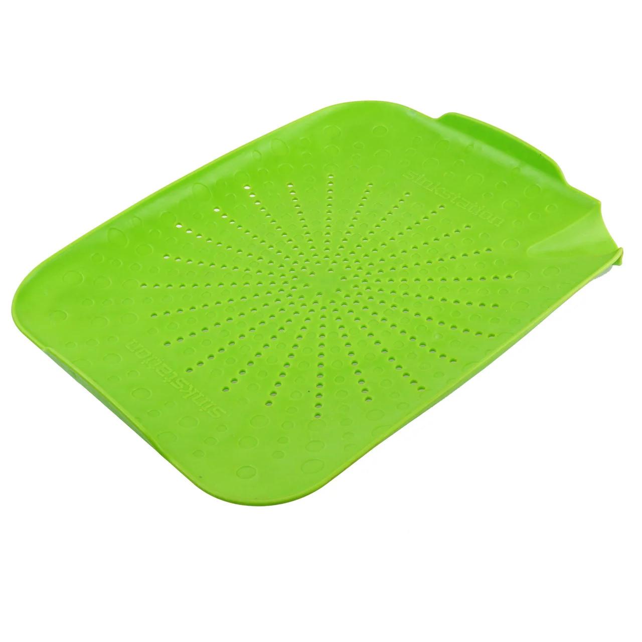 Пластиковый коврик-дуршлаг для раковины, цвет салатовый