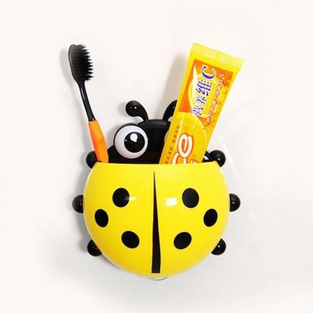 Настенный держатель для зубных щеток Божья коровка желтая, фото 2