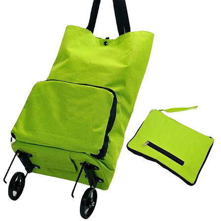Складная сумка для покупок на колесиках зеленая, фото 2