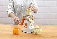 Ручная терка на присоске с 3 насадками оранжевая, фото 3