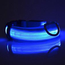 Светодиодный ошейник для собак usb, цвет голубой, размер L, фото 3