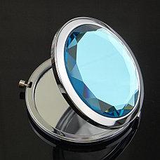 Карманное зеркальце двойное с увеличением, цвет Синий, фото 3