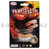 Зубы накладные вампирские на Хэллоуин без клыков  Vampire teeth SYZ-0605А с узорами серебристые