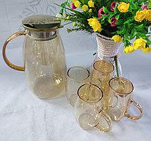 Набор из прозрачного стеклянного чайника и чашек Золото