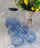 Набор из прозрачного стеклянного чайника и чашек BLUE