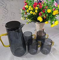 Набор из прозрачного стеклянного чайника и чашек BLACK