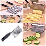 Кухонный волнистый нож для фигурной нарезки овощей и фруктов., фото 4