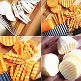 Кухонный волнистый нож для фигурной нарезки овощей и фруктов., фото 7