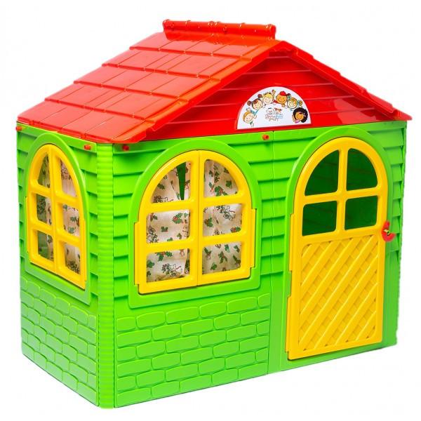 Домик детский малый, со шторками зеленый