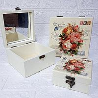 """Шкатулки с зеркалом """"Прованс"""" - Открытка, 3 в 1. Подарок для девушки / женщины., фото 1"""