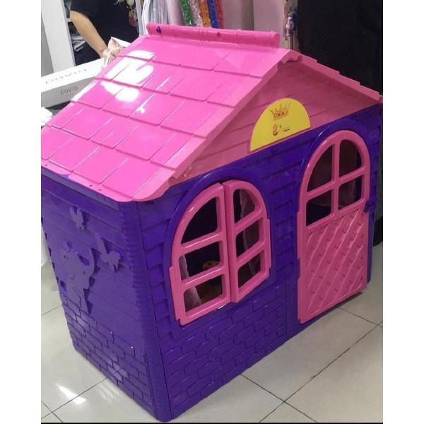 Домик детский малый, со шторками розовый