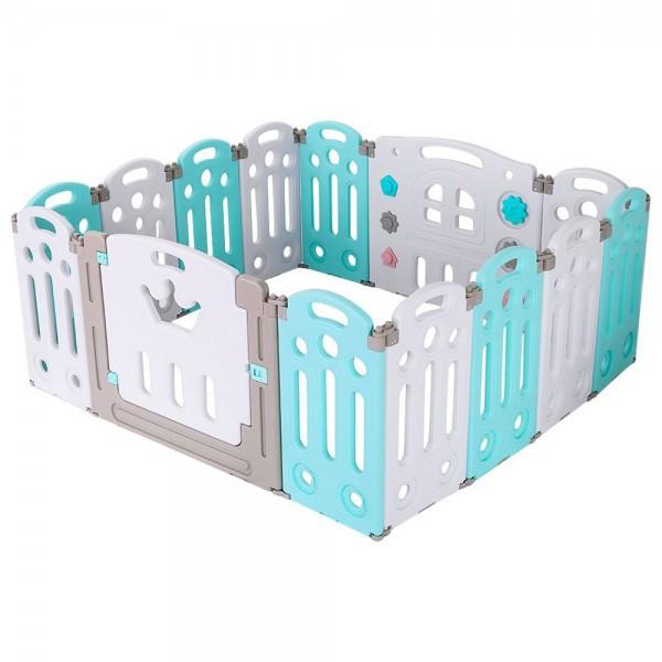 Детский манеж-ограждение  с игровой панелью и дверцей состоит из 14 секций.