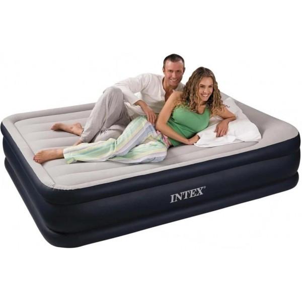 Двуспальная надувная кровать Deluxe Pillow Rest Raised Bed 152х203х42см со встроенным насосом, Intex 64136