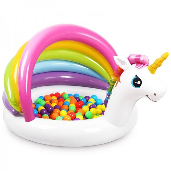 """Детский надувной бассейн 127х102х69 см """"Единорог"""" 45 л, от 1 до 3 лет (Intex 57113)."""