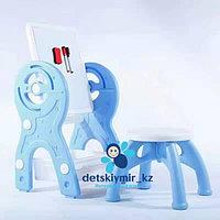 Детский мольберт 2в1 с конструктором и стулом