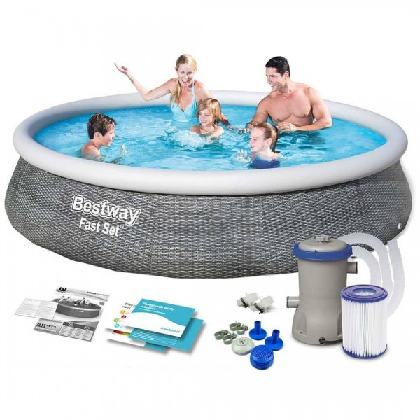 Семейный надувной бассейн Fast Set 396 х 84 см, BESTWAY, 57376