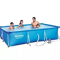 Каркасный прямоугольный бассейн Bestway 300х201х66 см + фильтр-насос 1249 л/ч (56411 BW).