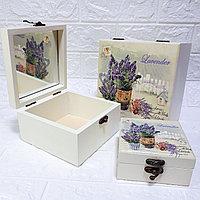 """Шкатулки с зеркалом """"Прованс"""" Lavender, 3 в 1. Подарок для девушки / женщины."""