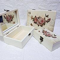 """Шкатулки с зеркалом """"Прованс"""" - Розы, 3 в 1. Подарок для девушки / женщины., фото 1"""