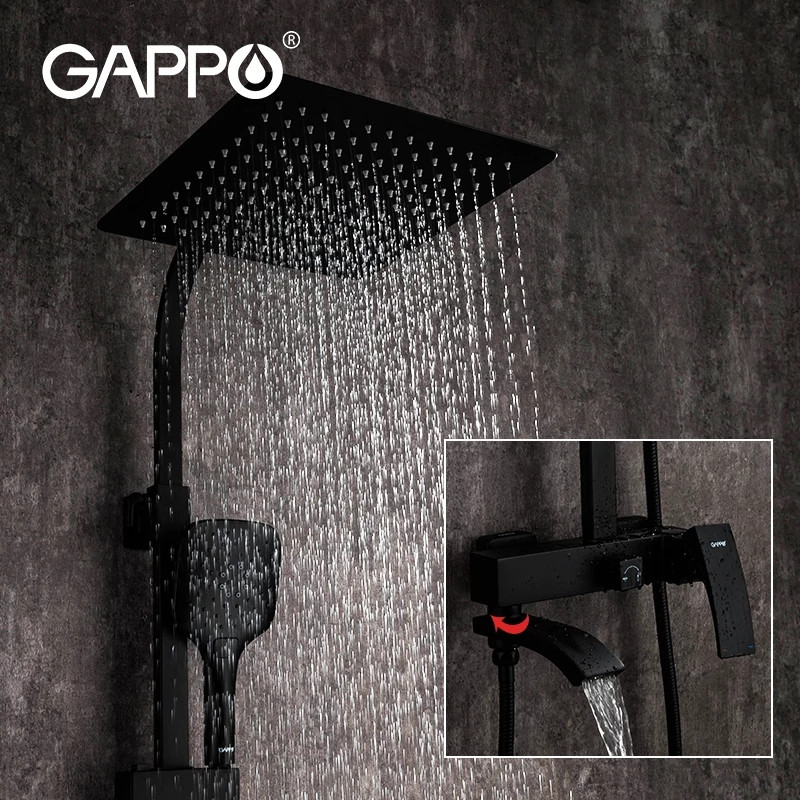 Душевая система цвет чёрный Gappo 2407-6