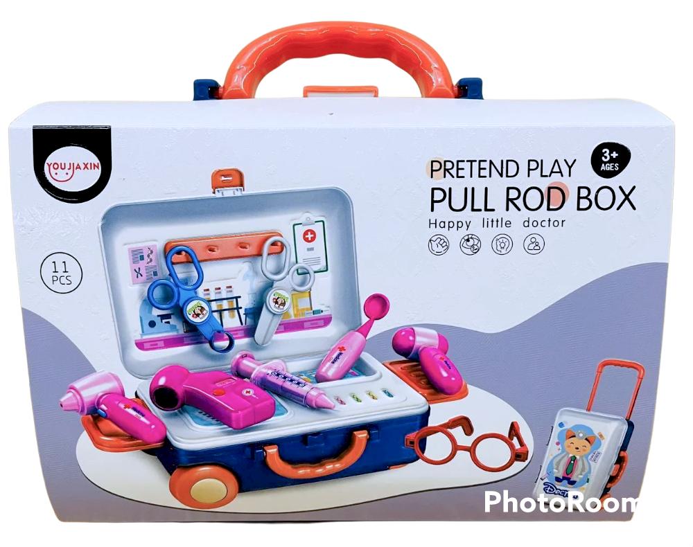 678-117A Pull rod box Мед набор в чемодане на колесах 11дет 26*21см
