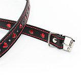 Кляп-шар БДСМ black-red с сердечками, фото 3