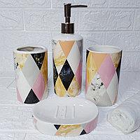 Набор аксессуаров для ванной комнаты «Ромбик», 4 предмета: дозатор, мыльница, 2 стакана., фото 1