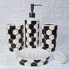 Набор аксессуаров для ванной комнаты «Сота», 4 предмета: дозатор, мыльница, 2 стакана.