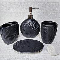 Набор аксессуаров для ванной комнаты «Нити», 4 предмета: дозатор, мыльница, 2 стакана., фото 1