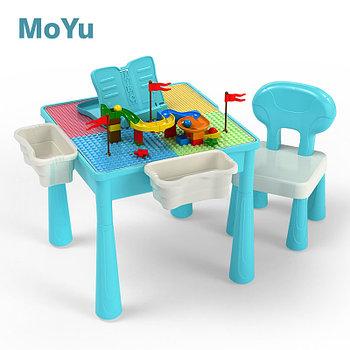MY7803 MOYU Детский стол конструктор большой+стул  67*52см