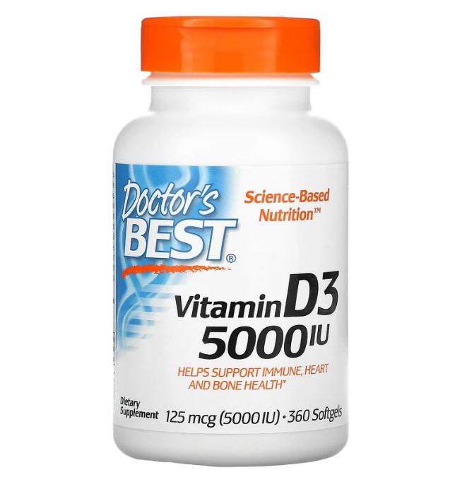 Doctor's Best, витамин D3, 125 мкг (5000 МЕ), 360 мягких таблеток